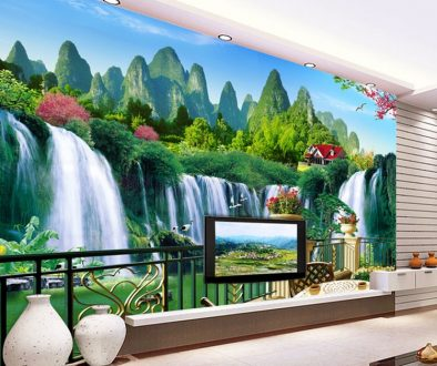 3D-alam-wallpaper-Mural-besar-ruang-tamu-TV-background-wallpaper-Dinding-lukisan-angsa-jatuh